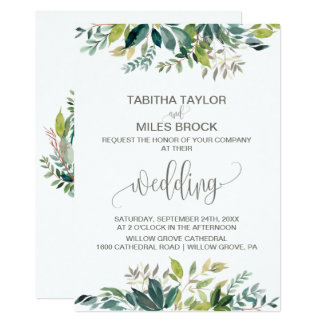 Foliage with Monogram Wreath Backing Wedding Card