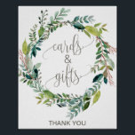 "Foliage Wreath Cards and Gifts Sign<br><div class=""desc"">This foliage wreath cards and gifts sign is perfect for a rustic wedding or bridal shower. The design features a boho frame of green leaves and leafy greenery botanicals. The line of text at the bottom of the sign can be personalized with the date, the names of the bride and...</div>"