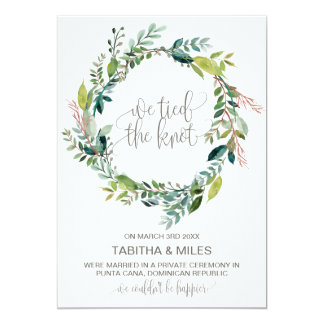 Foliage Wreath Elopement Announcement