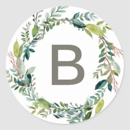 Foliage Wreath Monogram Wedding Envelope Seals