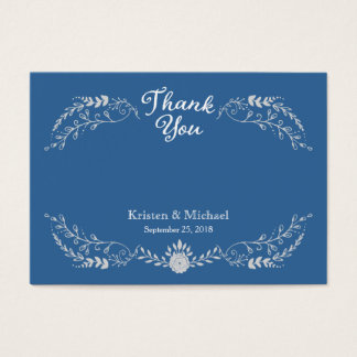 Foliage Wreath Silver Blue Monochromatic Thank You Business Card
