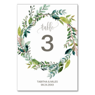 Foliage Wreath Table Number
