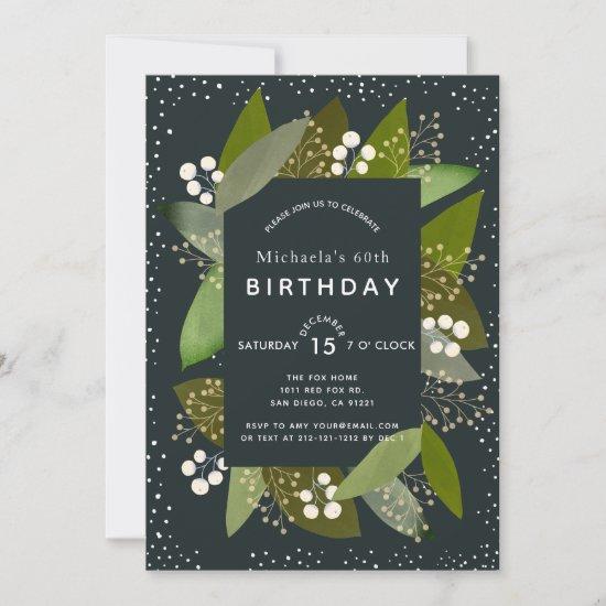 Foliages & Berries Christmas Birthday Invitation