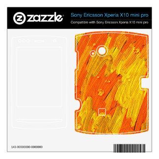 Folie, Skin für Handy abstrakt gelb orange Xperia X10 Skins