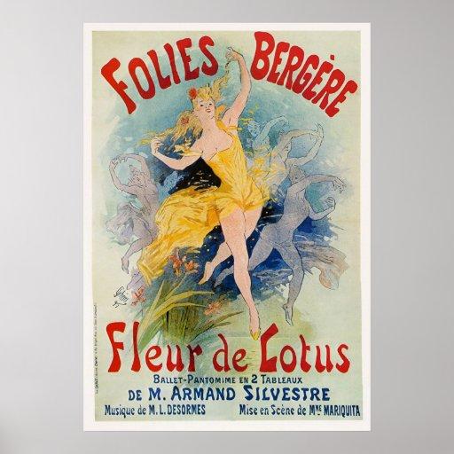 """Folies Bergère """"Fleur de Lotus"""" Advertisement 1893 Poster"""