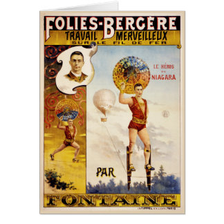 Folies Bergere Fontaine Vintage Poster Card