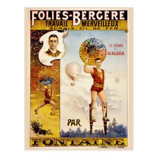 Folies Bergere Fontaine Vintage Poster Postcard