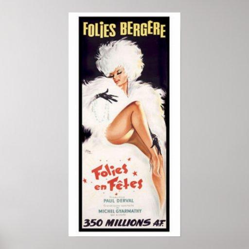 Folies-Bergere, teatro de danza del cabaret Posters