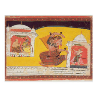 Folio 27 Laksmama cuts the nose of Surpanakha, fro Postcard
