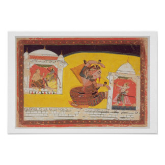 Folio 27 Laksmama cuts the nose of Surpanakha, fro Poster
