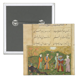 Folio 39, A garden scene, from the 'Bustan of Sa'd Pinback Button