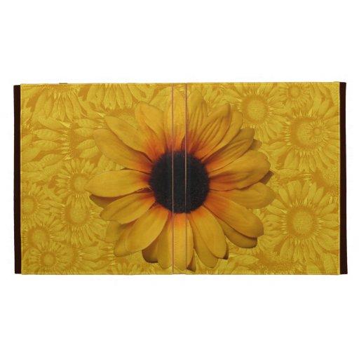 Folio amarillo hermoso del iPad de los girasoles