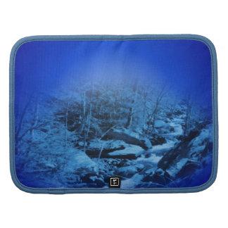 Folio azul del carrito de la naturaleza del arroyo planificadores