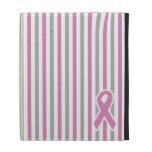 Folio de encargo del iPad de las rayas rosadas y d