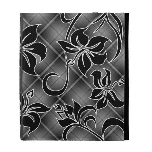 Folio del iPad de la tela escocesa del hibisco de