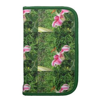 Folio elegante del teléfono de las flores rosadas organizador