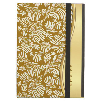 Folio floral de marfil del cojín del oro