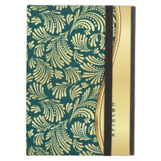Folio floral del cojín del oro azul del trullo