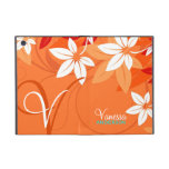 Folio floral del monograma de la mandarina iPad mini protector