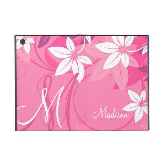 Folio floral rosado del monograma iPad mini fundas