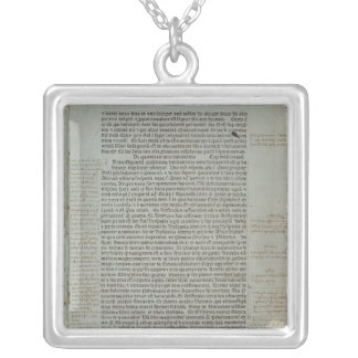 Folio from Pierre d'Ailly's 'Imago Mundi' Silver Plated Necklace