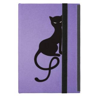 Folio malvado gracioso púrpura del gato negro iPad mini fundas