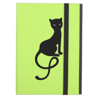 Folio malvado gracioso verde del gato negro