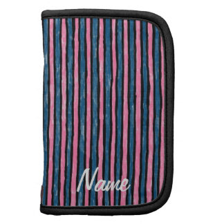 Folio Name Template Painted Stripes, Blue Pink Organizers