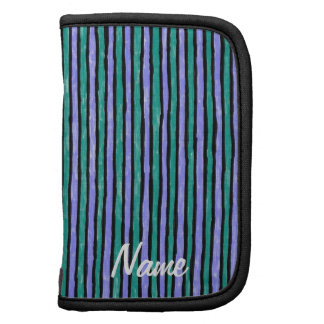 Folio Name Template Painted Stripes, Blue & Teal Organizer