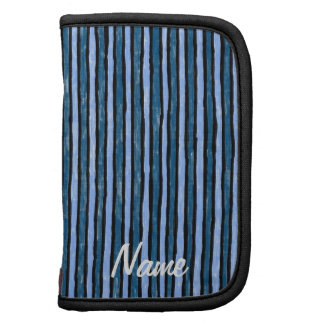 Folio Name Template Painted Stripes, Blues Organizers