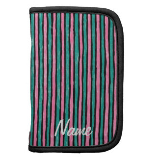 Folio Name Template Painted Stripes, Pink and Teal Folio Planners