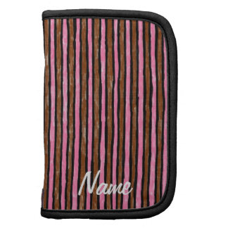 Folio Name Template Painted Stripes, Pink & Brown Planner