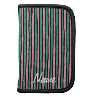 Folio Name Template Painted Stripes, Pink Green Organizer