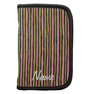Folio Name Template Painted Stripes, Pink Mustard Planners