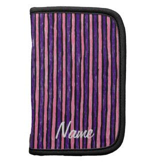 Folio Name Template Painted Stripes, Purple Pink Folio Planners