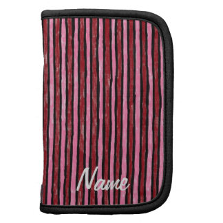 Folio Name Template Painted Stripes, Red and Pink Planners