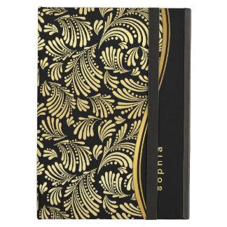 Folio negro del iPad del monograma del oro