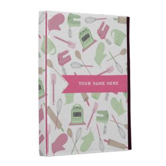 Folio personalizado temático de cocinar rosado del