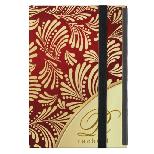 Folio rojo del monograma del oro de Borgoña iPad Mini Carcasa