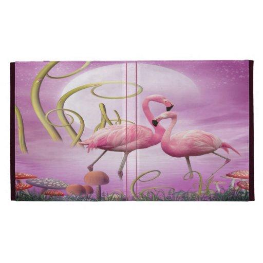 Folio rosado caprichoso del iPad de los flamencos