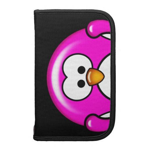 Folio rosado del carrito de Smartphone del pingüin Planificadores