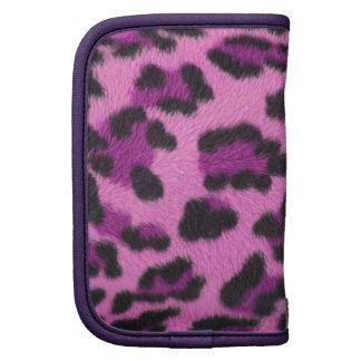 Folio rosado del estilo del leopardo planificador