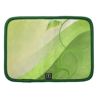Folio verde de la cartera del fondo de la hoja organizadores