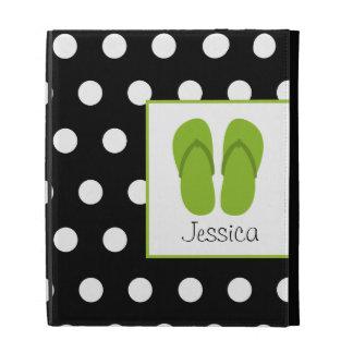 Folio verde del iPad de los flips-flopes