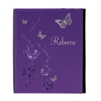 Folios floral del iPad de la mariposa de plata púr