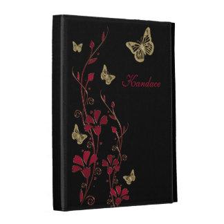 Folios floral del iPad de la mariposa negra roja d