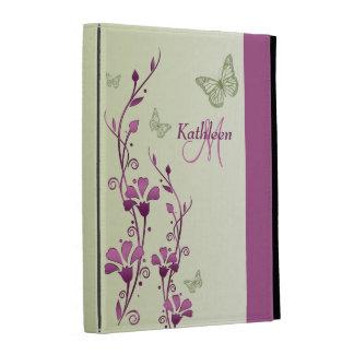 Folios floral del iPad de la mariposa púrpura, ver