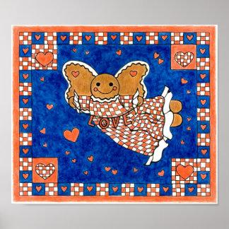Folk Art Americana Gingerbread Angel Poster