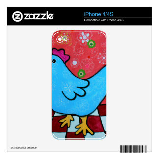 FOLK ART AMERICANA ROOSTER SKINS FOR iPhone 4