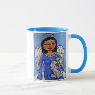 Folk Art Angel Cat Angel on Cloud Mug